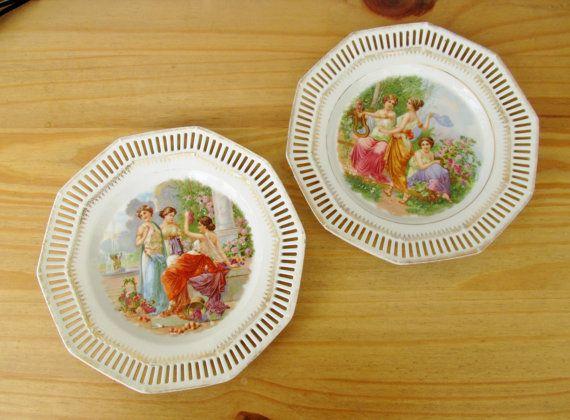 1970s European Romanticism Porcelain Plates by QueensParkVintage