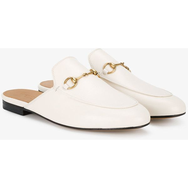 86339bb46 Gucci White Leather Princetown Mules (2.270 BRL) ❤ liked on Polyvore  featuring shoes, gucci shoes, white mules, leather footwear, gucci footwear  and ...