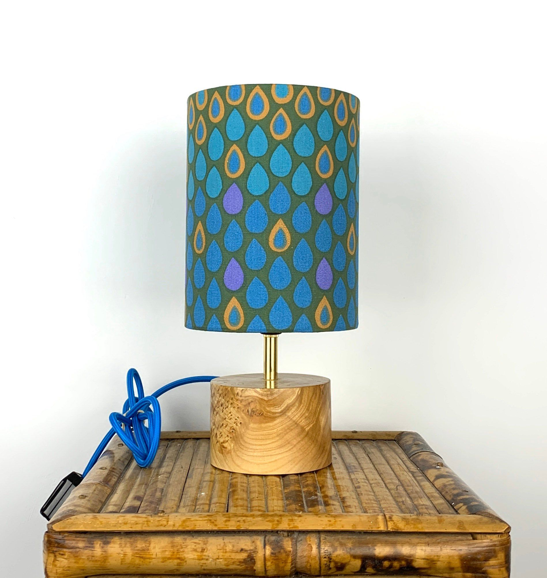 Wooden Table Lamp With Heals Fabric Lampshade Fabric Lampshade