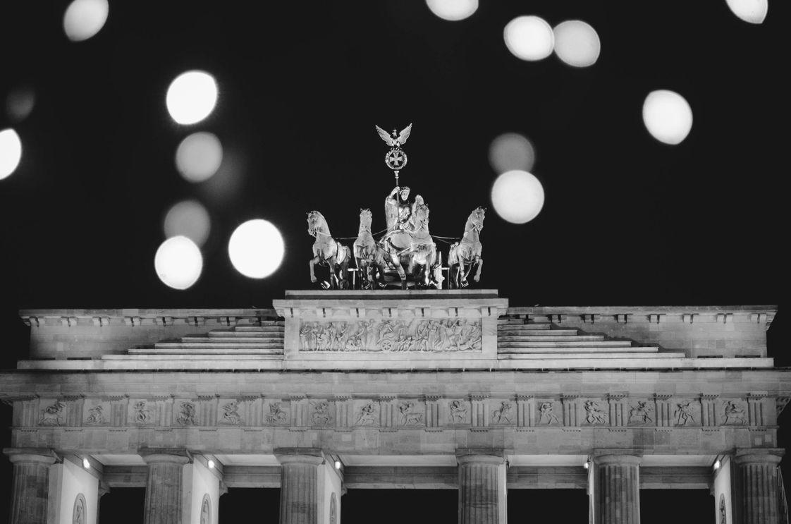 Brandenburger Tor Berlin Schwarz Weiss Schatten Brandenburger Tor