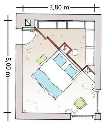 Diagonal geteiltes Schlafzimmer #apartmentdecor