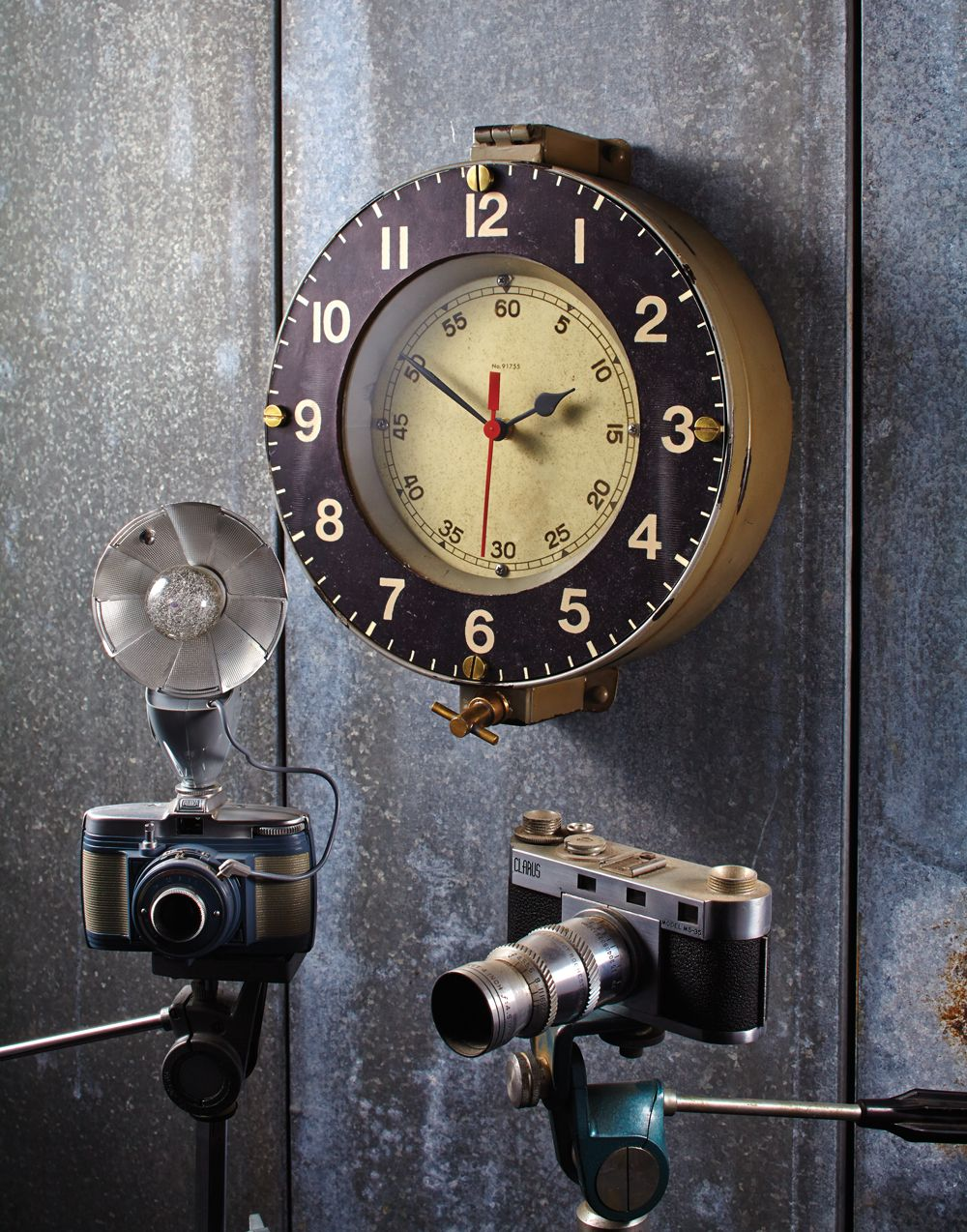 Anchoring The Space On Your Wall With Depth And Classic Utility This Reproduction Of A 1940 S French Naval Clock Once Used In Clock Wall Clock Pendulux Clock