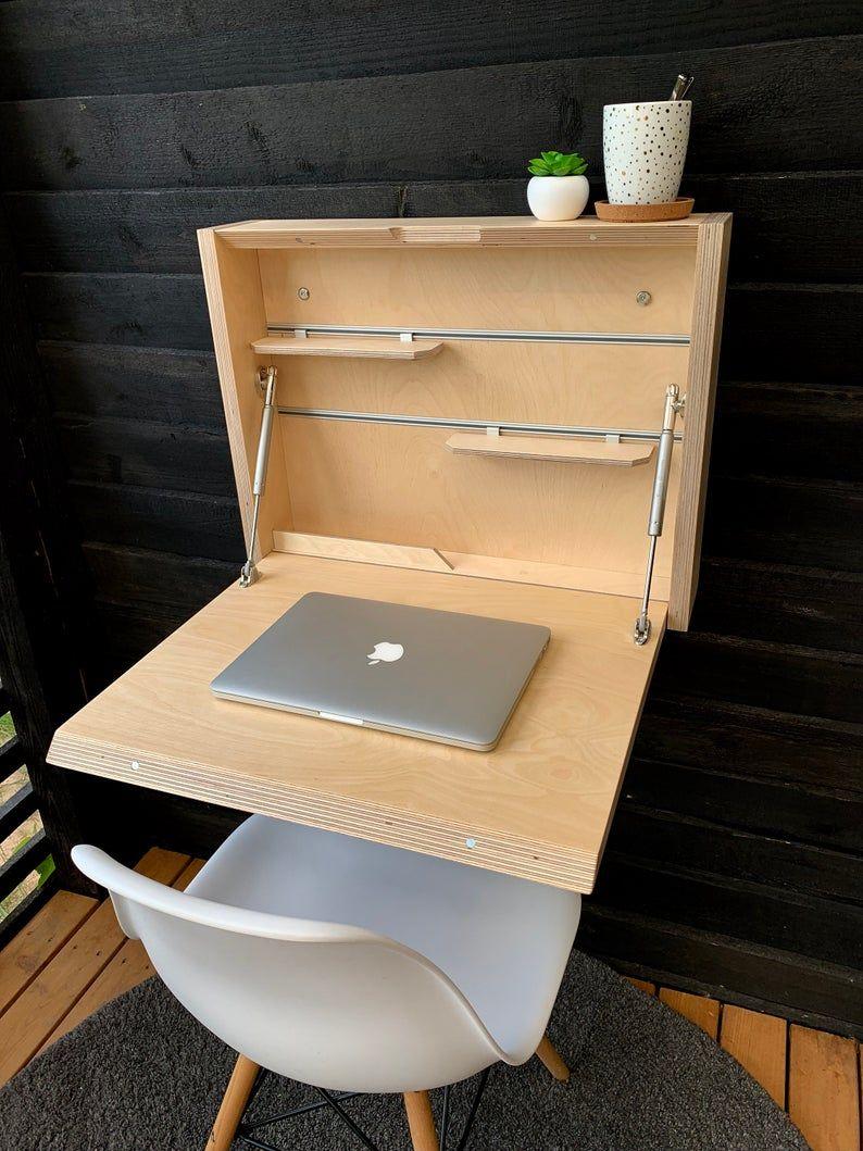 Bureau Secretaire Petit Espace table de contreplaqué de bouleau. petit bureau pliant