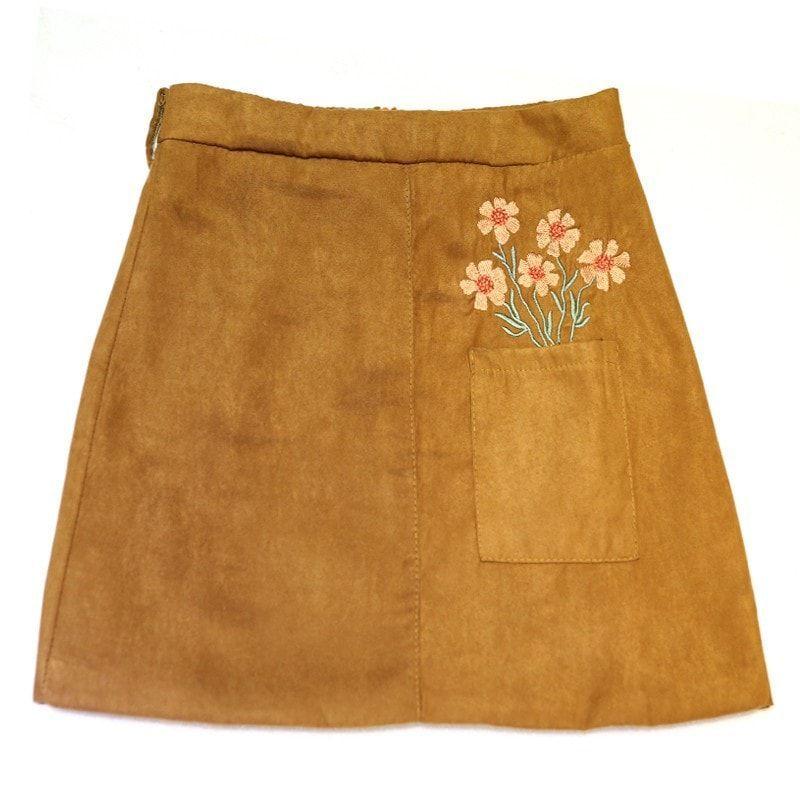 3 Colors Gray Black Khaki Embroidery Vintage Autumn Winter Empire Tube Suede Skirt Women Plus Size XL Fashion Mini Basic Skirts