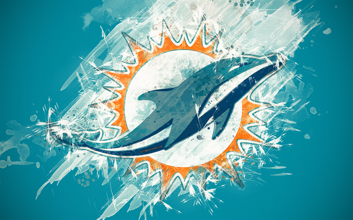 Download wallpapers Miami Dolphins, 4k, logo, grunge art