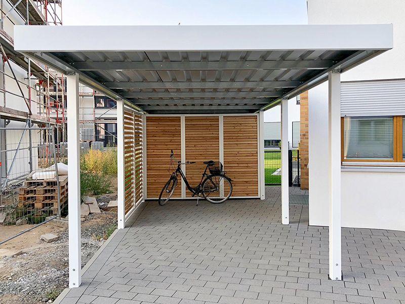 Carport aus Metall mit Flachdach Überdachung holz