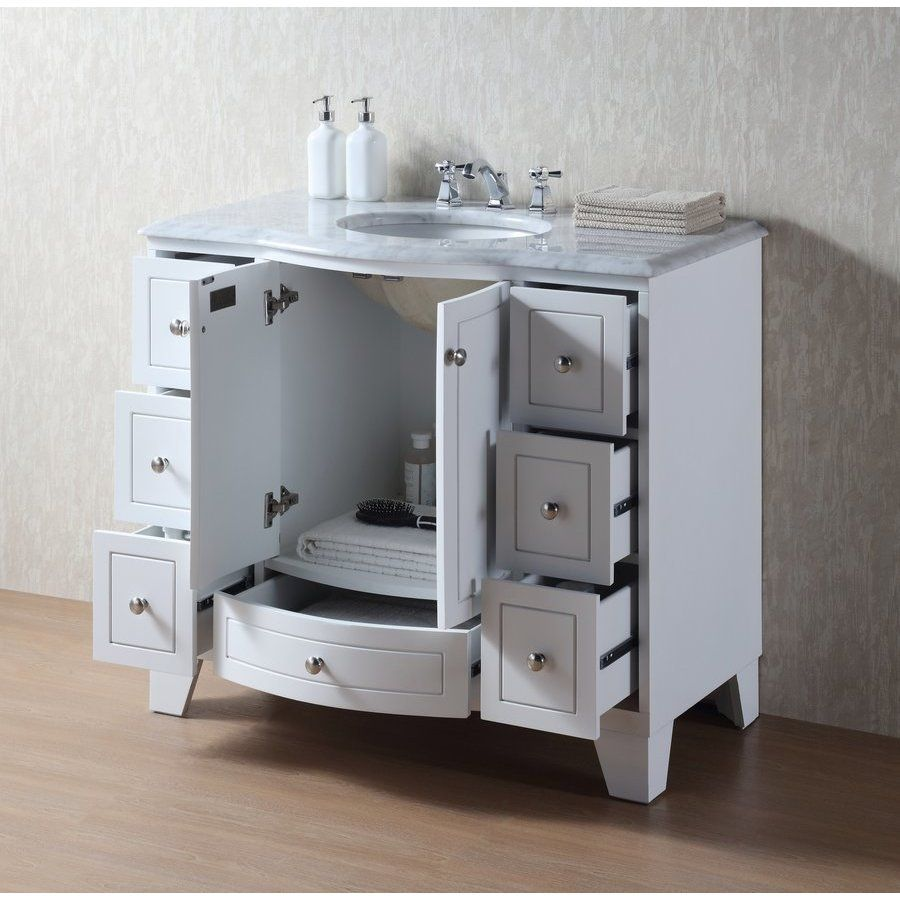 Stufurhome 40 Inch Grand Cheswick Single Sink Vanity With Marble