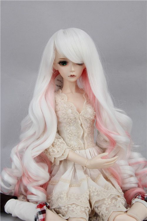 Long Curly Wig High Temperature Wire with Middle Parting for 1//3 BJD Doll