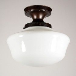 Antique Industrial Schoolhouse Flush Mount Light with Glass Globe