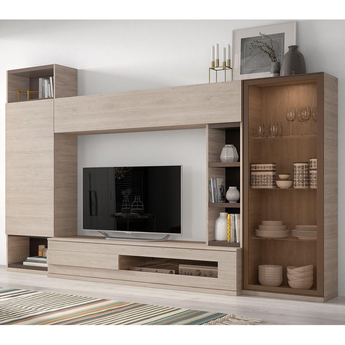 Mueble de salón en roble y tierra Chicago | INTERIORES IDEAS ...