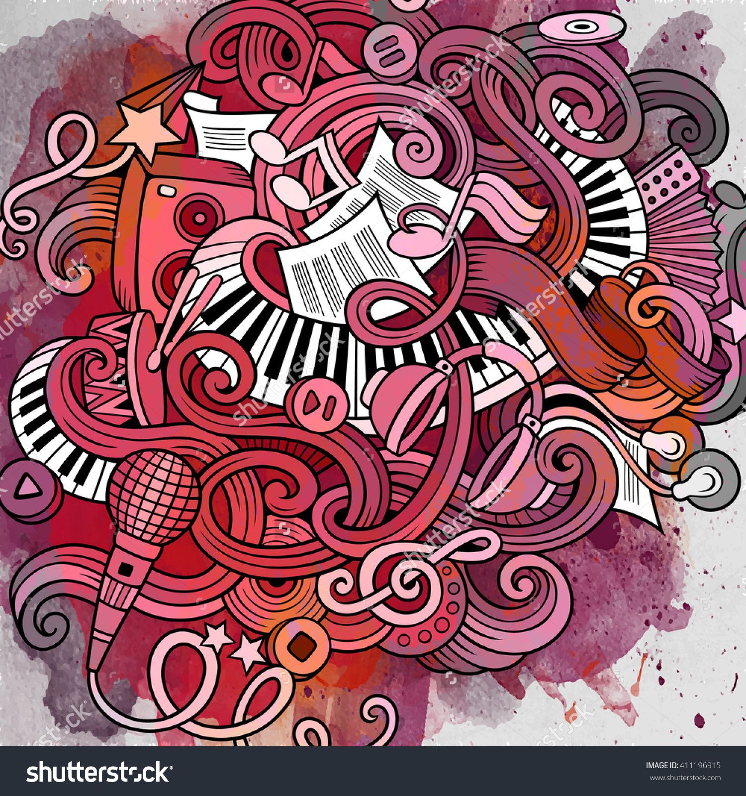 Cartoon Hand-Drawn Doodles Musical Paint Illustration. Vintage Music Watercolor Detailed, With Lots Of Objects Vector Background. Music Paint Art. - 411196915 : Shutterstock