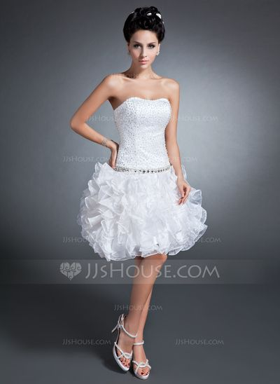 A-Line/Princess Sweetheart Knee-Length Organza Satin Homecoming Dress With Beading Sequins Cascading Ruffles (022015088)
