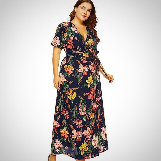 3013001fcbafa Plus Size Floral Print Long Chiffon Party Dress - Aleya Collections V Neck  Dress, Ankle