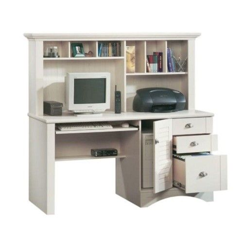Sauder Harbor View Computer Desk with Hutch - Antiqued White