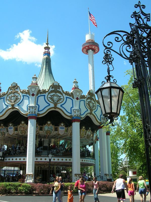 Park:  SFGAm<br /> The wrought iron entrance gates to Orleans Place are seen in this side view of Columbia.  The Sky Trek Tower is seen in the backround.