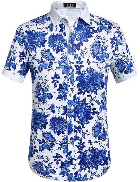 692901124 SSLR Men's Flower Buttondown Short Sleeve Shirt (Small, Blue Red) at Amazon  Men's Clothing store: