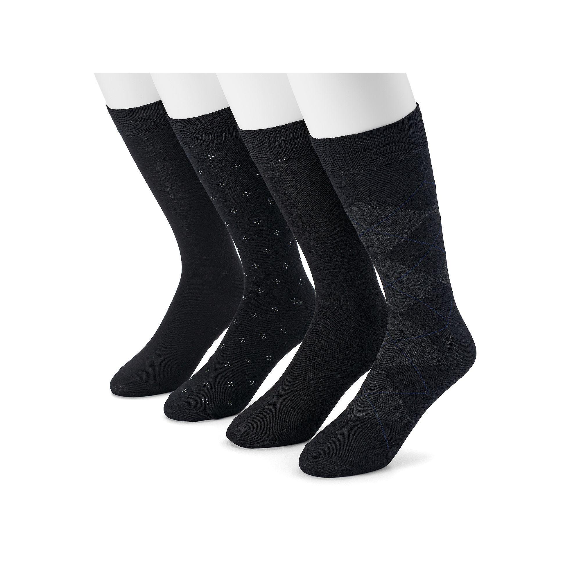 Men's Dockers 4-pack Argyle, Solid & Patterned Dress Socks, Size: 6-12, Black