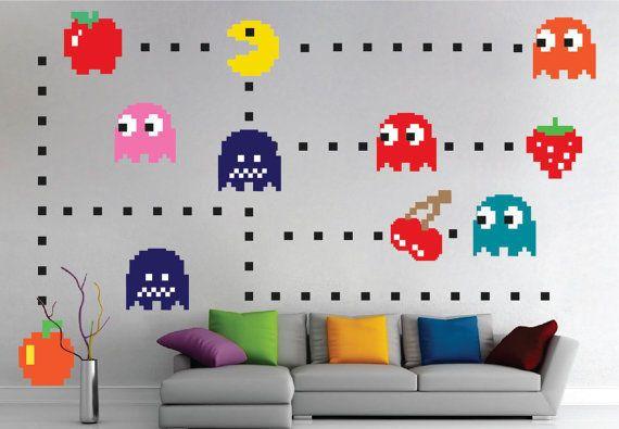 Pacman Wall Decal Sticker Pacman Bedroom Video Game Pacman Wall Art Design N52 Wall Mural Decals Kids Room Decals Wall Design