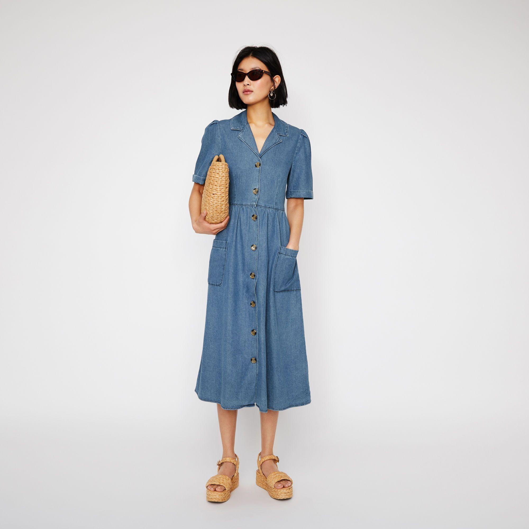 20c62f81d61d Denim button midi dress in 2019 | wait for sale | Shirts, Dresses, Denim