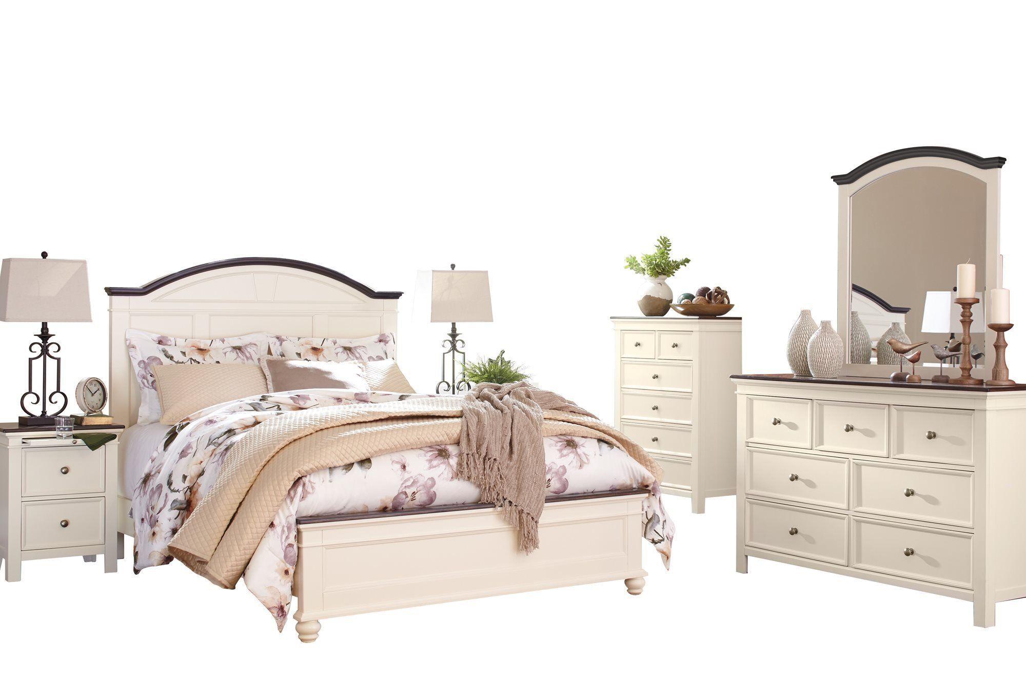 Ashley Woodanville 6PC Bedroom Set E King Panel Bed Dresser Mirror ...