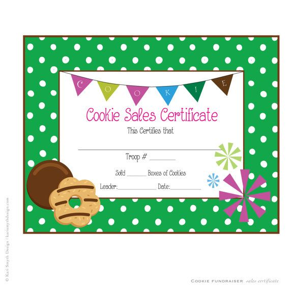Girl Scout Cookie Sales Award Certificate Downloadable