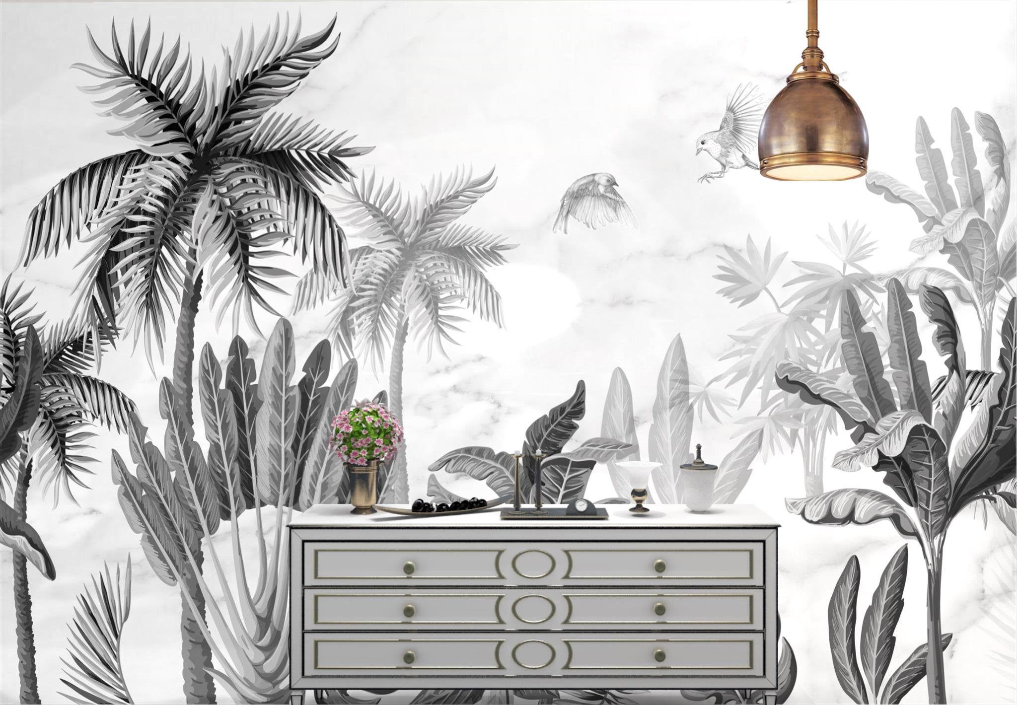 Europe Black And White Wallpaper Self Adhesive Wall Wallpaper Sticker Flowers And Bir Wall Stickers Living Room Black And White Wallpaper Mid Century Wallpaper