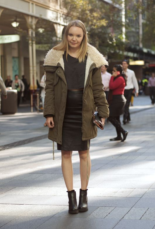 Khaki Warmer. We love a pair of skinny jeans just as much as the next girl. But for those times when we want to rock a high-rise skirt and show off our pins? Well, a girl's just got to cover up on top. Fuzzy, chunky knits and parkas have our hearts this season.