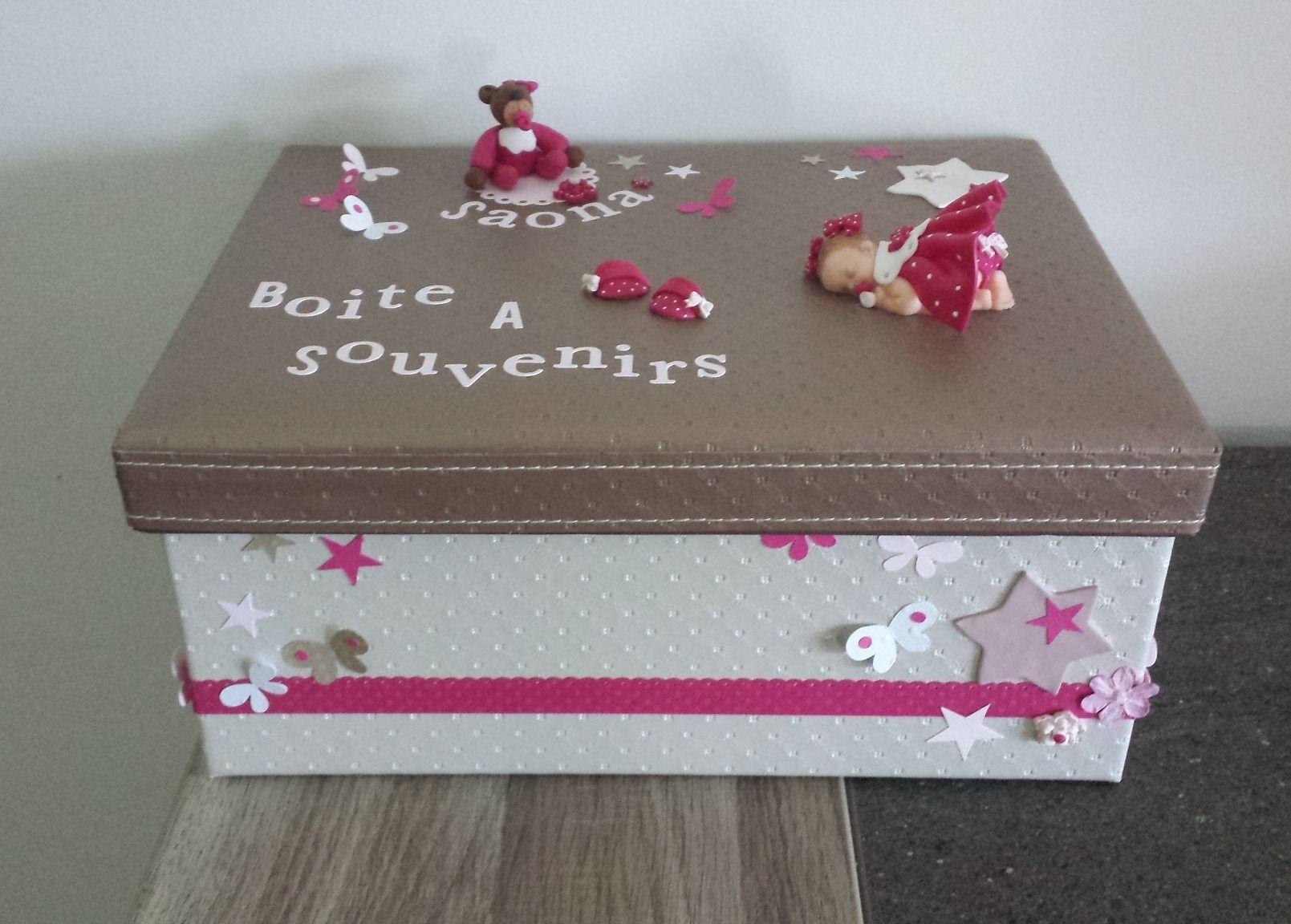 Bo/îte Souvenir Cadeau B/éb/é Fille 1er anniversaire avec ours en peluche