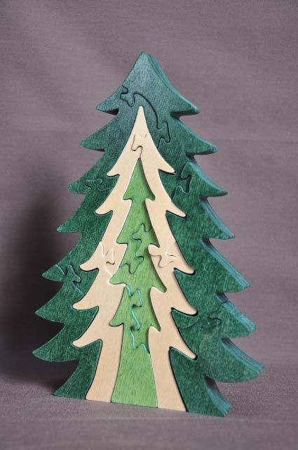 Beautiful Natural Pine Christmas Tree Puzzle Wooden By Puzzimals, $13.99