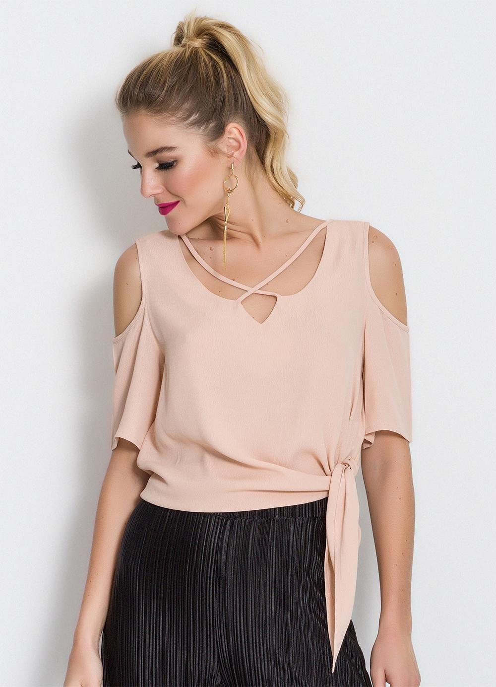 4f4d9c87b Blusa Colcci Rosê Ombros Vazados - Colcci | Blusas | Robe, Couture e ...
