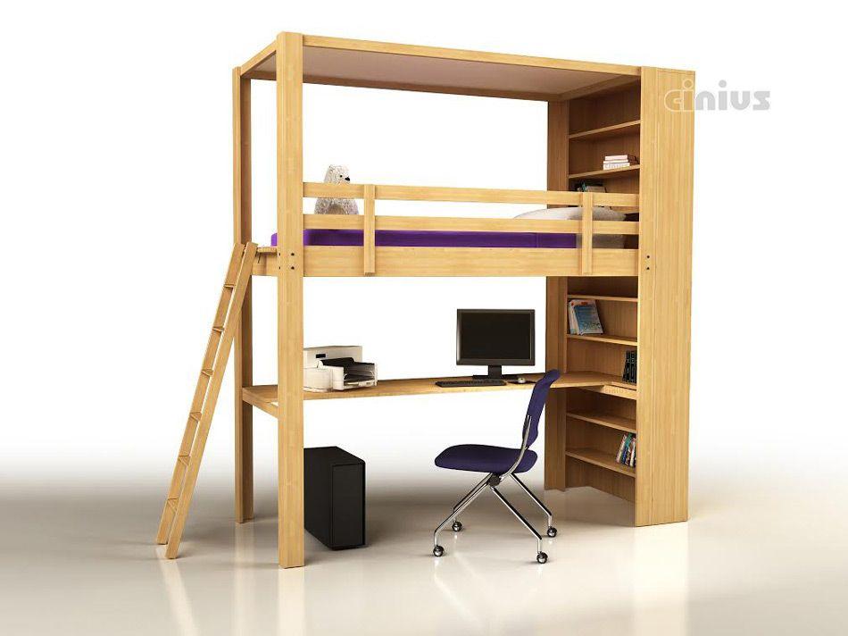 Letto a soppalco Nido con scrivania per bambini e ragazzi | letto ...