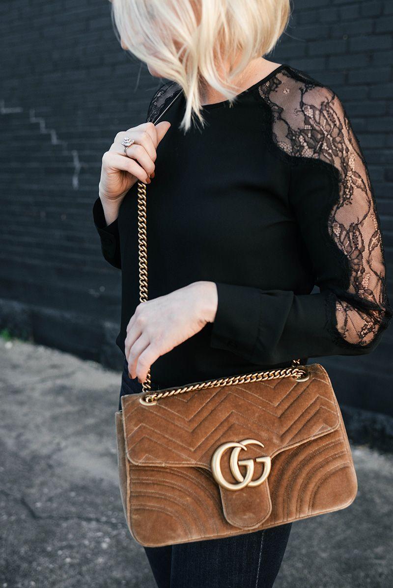 fc88ff40f Gucci Medium Velvet Marmont Shoulder Bag in Camel | Bags I Love ...
