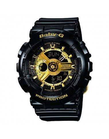 Zegarek Casio Ba 110 1aer Baby G Ba 110 1aer Black And Gold Watch Baby G Shock Casio Baby G Shock
