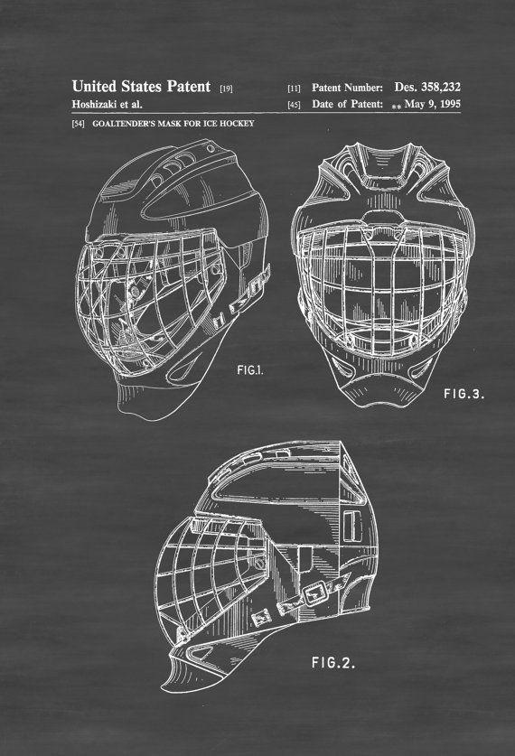 Hockey Goaltender Mask Patent Patent Print Wall Decor Etsy Patent Art Prints Patent Prints Chalkboard Art Print