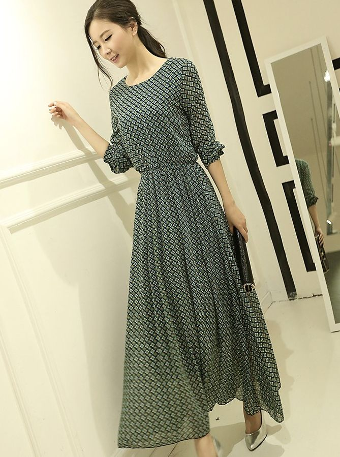 korean maxi dress with sleeves - Google Search | Maxi Chic ...