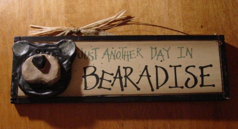 BEARADISE Black Bear Lodge Rustic Log Cabin Wood Home Decor Sign
