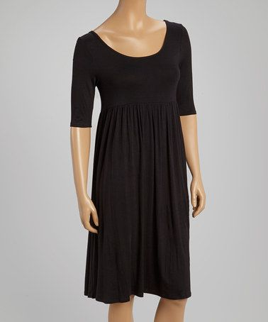 021723fd861c Love this Black Scoop Neck Dress by MOA Collection on #zulily! #zulilyfinds