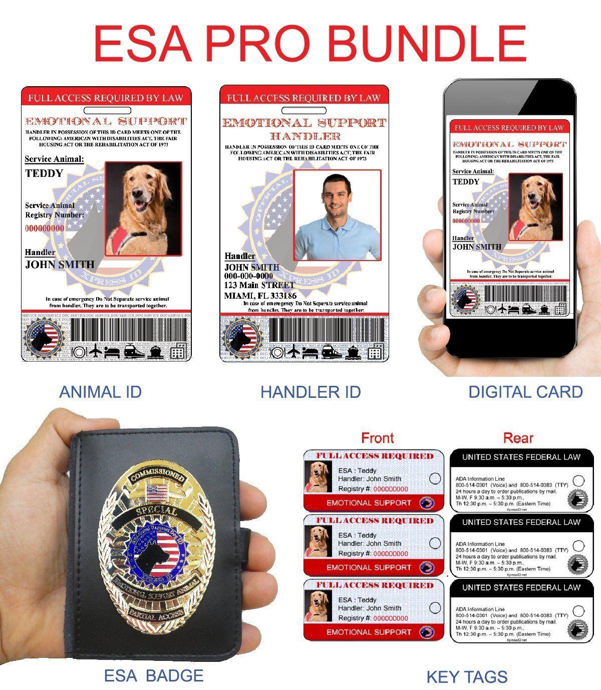 Emotional Support Animal Pro Bundle Dog ID Handler ID
