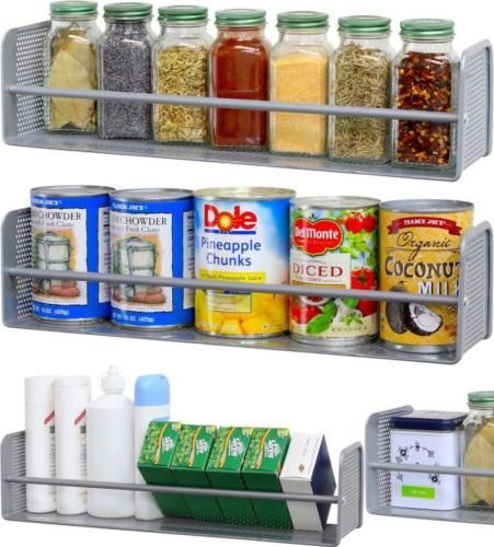 Details About New Wall Mount Storage Shelf Pantry Holder Kitchen Cooking  Spice Rack Organizer