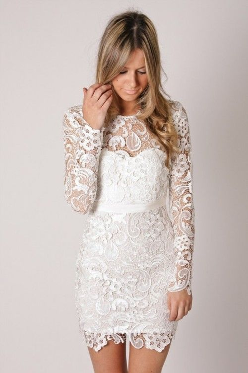 Beau Not Really For Reception.but Maybe Rehearsal Dinner? Or If I Could Have A  Removable Skirt On Wedding Gown?Short Lace Dress With Long Sleeves. Perfect  For ...