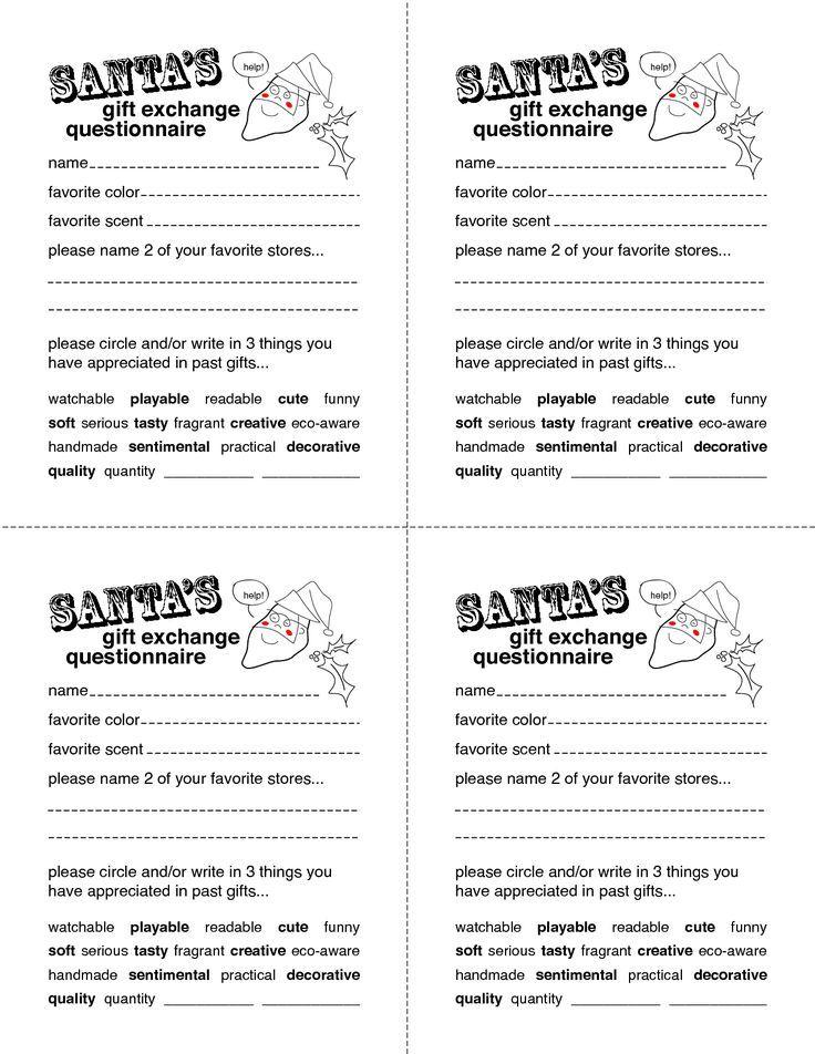 Gift Idea Questions Santa Questionnaire Secret Santa