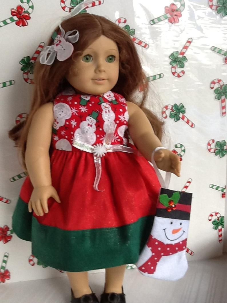 Christmas American Girl 18 inch Doll Dress Snowman Print Red & Green with Matching Hair Bow and Bonus Christmas Stocking! ~FREE SHIPPING~ #18inchdollsandclothes