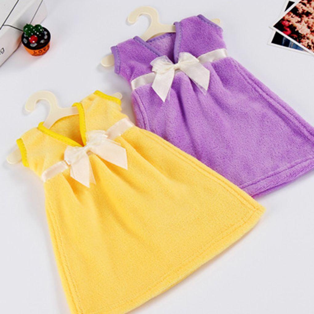 Eco Friendly Coral Velvet Skirt Dress Hand Towels Absorbent Kids Bathroom  Towel Hanging Kitchen Towel