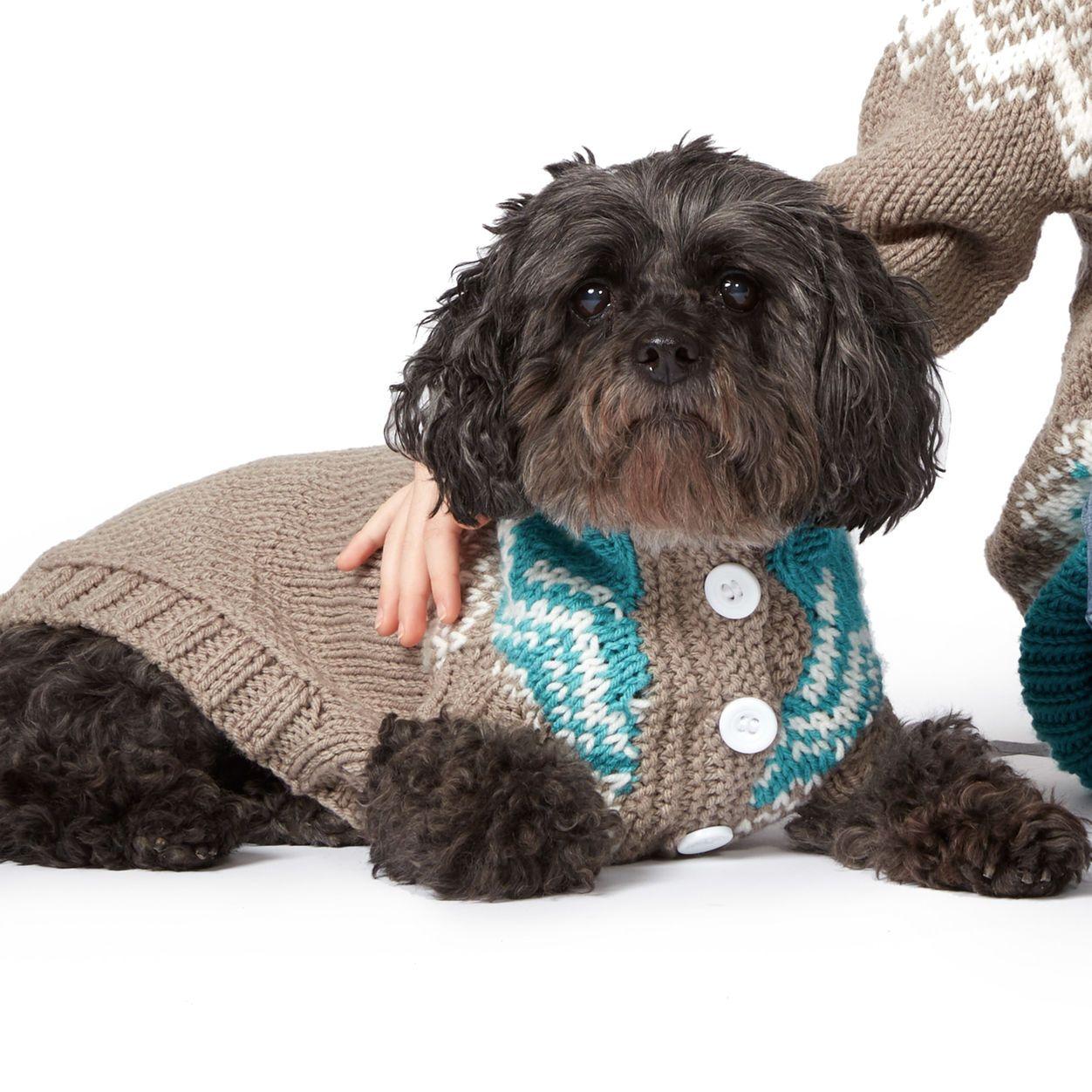 Bernat Fair Isle Knit Dog Coat, S M L | Dog coat pattern ...