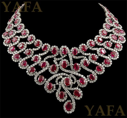 18k Gold Diamond and Ruby Necklace - Yafa Jewelry
