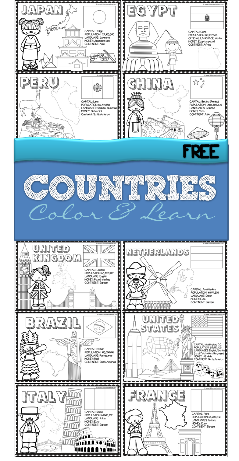FREE 18 Countries of the World Book | Pinterest | Color sheets ...