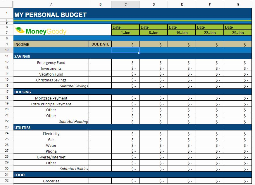 Monthly Budget Excel Spreadsheet Template Lovely Free