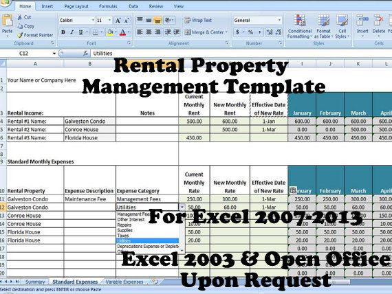 Rental Property Management Template, Rental Income and Expense - vacation tracking template