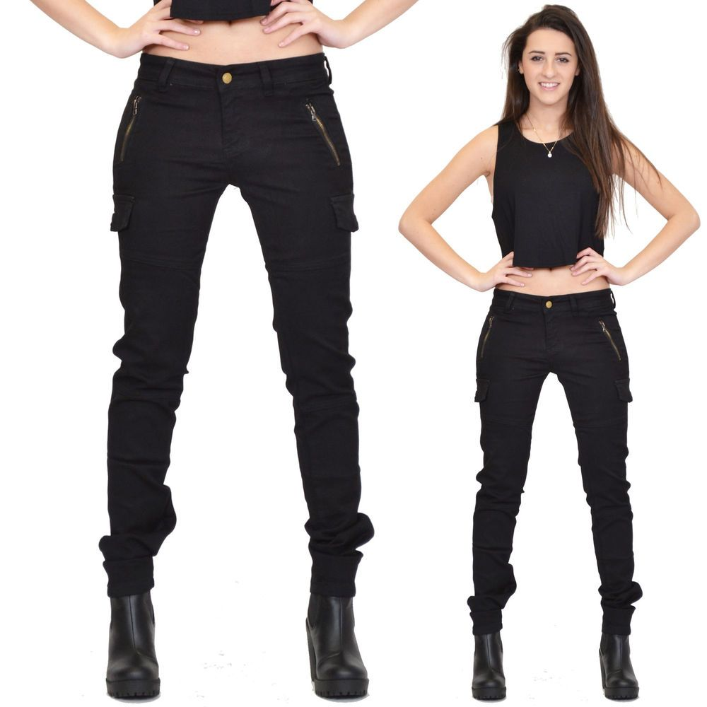 5ac2b6e9a New Ladies Womens Black Slim Fitted Stretch Combat Pants Skinny Cargo  Trousers