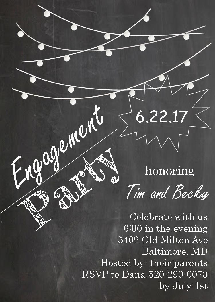 Engagement Party Invitations  Lights On Chalkboard  Engagement